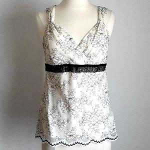 NY & Co Floral Lace Sleeveless Top w Beaded Waist